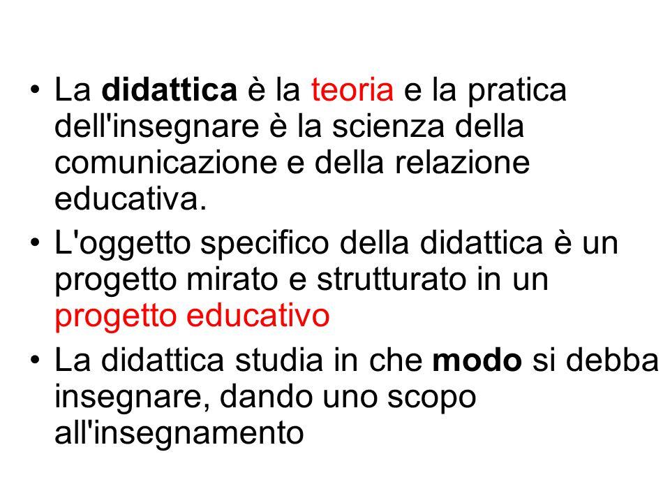 Didattica = azione consapevole e intenzionale, pianificata e fondata su un apparato teorico pedagogico/filosofico/sociologico.