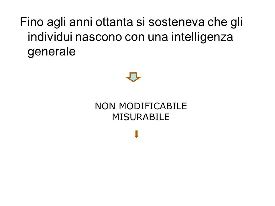 Fino agli anni ottanta si sosteneva che gli individui nascono con una intelligenza generale NON MODIFICABILE MISURABILE