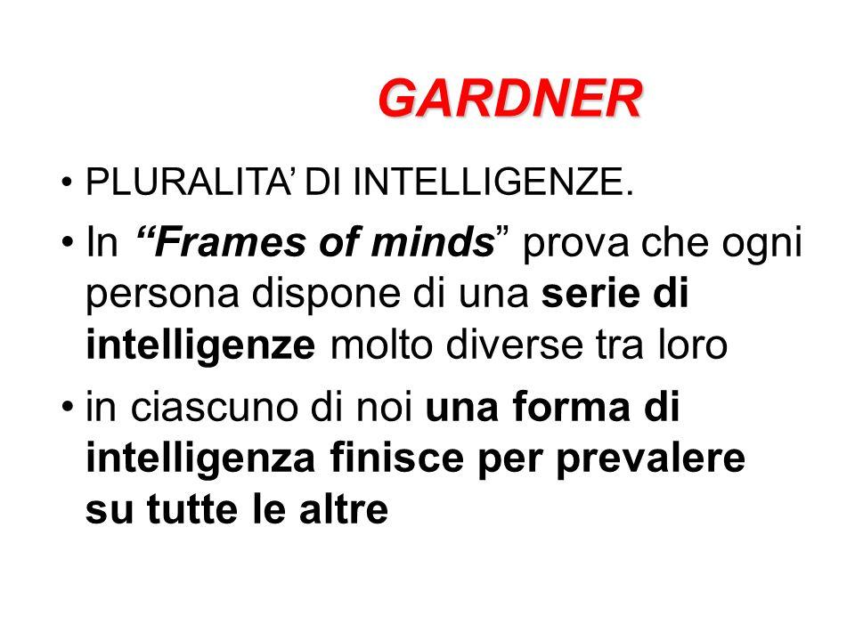 7 + 2 Gardner considera 7 intelligenze Linguistica Musicale Logico-matematica Spaziale Fisico-cinestetica Intersociale Intrasociale Naturalistica – Esistenziale