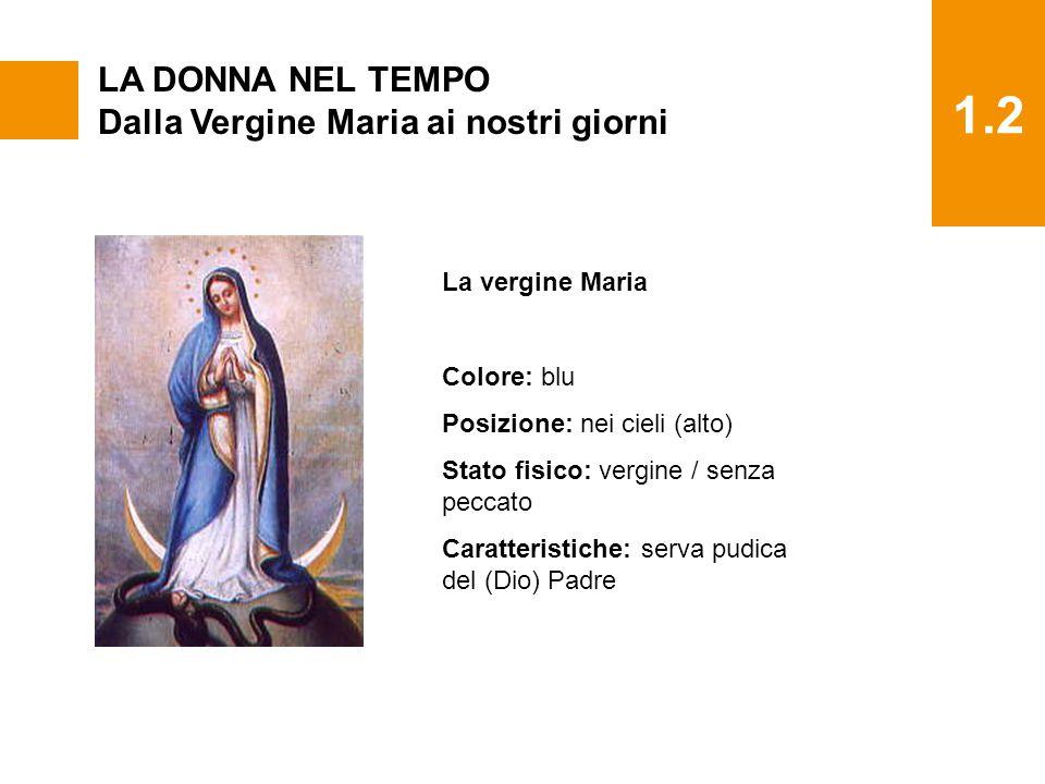 1.2 LA DONNA NEL TEMPO Dalla Vergine Maria ai nostri giorni La vergine Maria Colore: blu Posizione: nei cieli (alto) Stato fisico: vergine / senza pec
