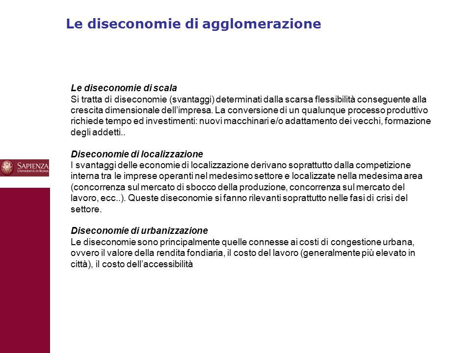 Le diseconomie di agglomerazione 10 Le diseconomie di scala Si tratta di diseconomie (svantaggi) determinati dalla scarsa flessibilità conseguente alla crescita dimensionale dell'impresa.