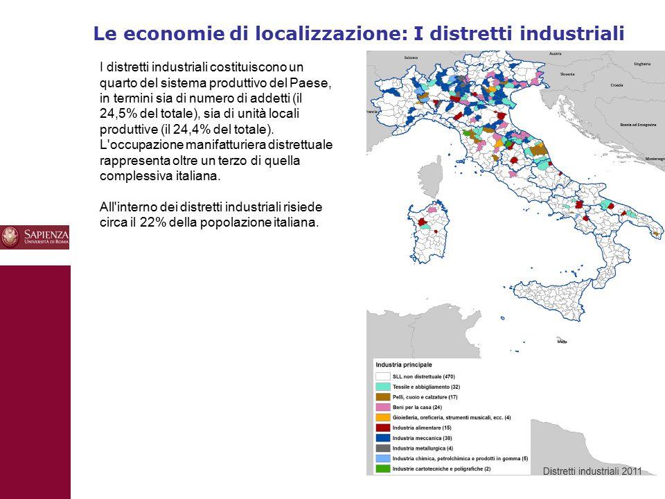 Le economie di localizzazione: I distretti industriali 10 I distretti industriali costituiscono un quarto del sistema produttivo del Paese, in termini sia di numero di addetti (il 24,5% del totale), sia di unità locali produttive (il 24,4% del totale).