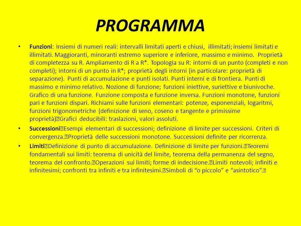 PROGRAMMA Funzioni: Insiemi di numeri reali: intervalli limitati aperti e chiusi, illimitati; insiemi limitati e illimitati.