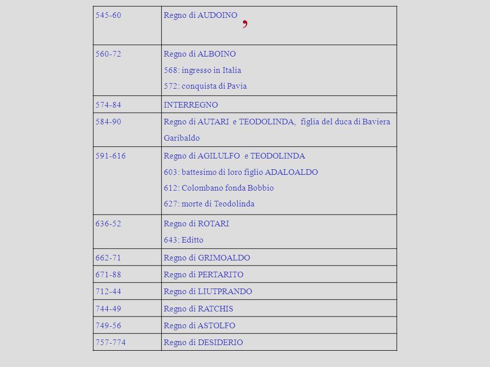 , 545-60Regno di AUDOINO 560-72 Regno di ALBOINO 568: ingresso in Italia 572: conquista di Pavia 574-84INTERREGNO 584-90 Regno di AUTARI e TEODOLINDA,