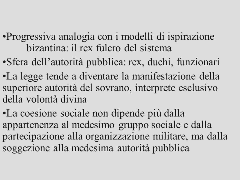 Progressiva analogia con i modelli di ispirazione bizantina: il rex fulcro del sistema Sfera dell'autorità pubblica: rex, duchi, funzionari La legge t
