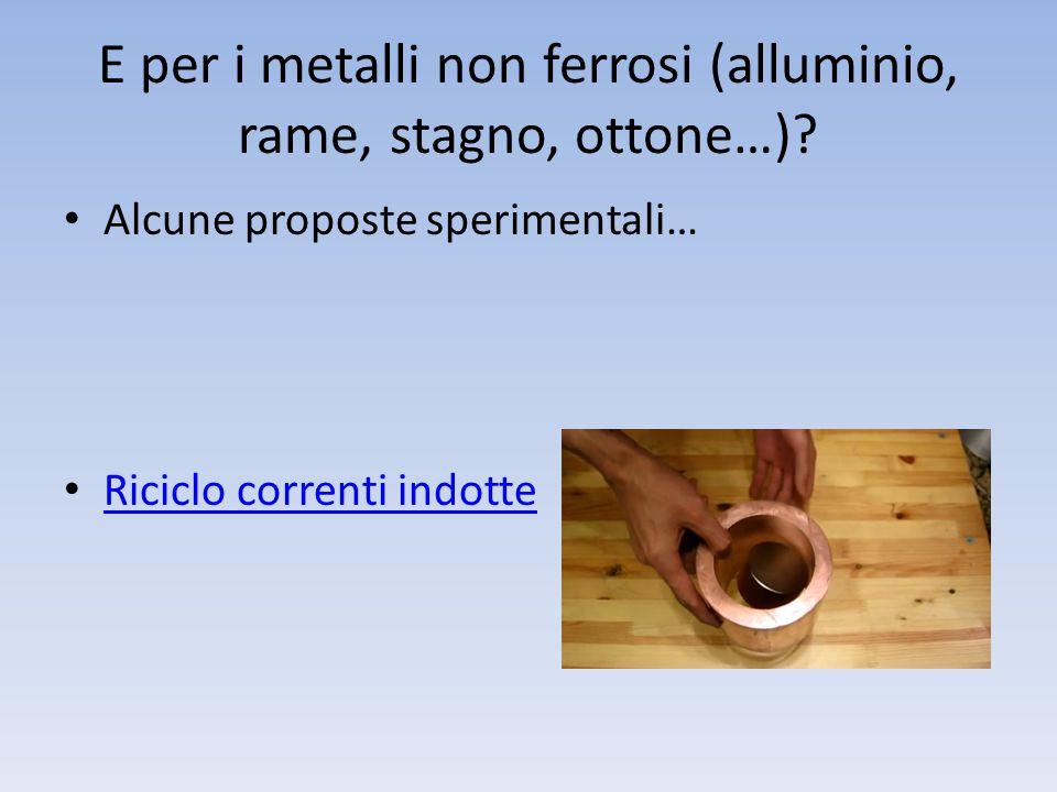 E per i metalli non ferrosi (alluminio, rame, stagno, ottone…).