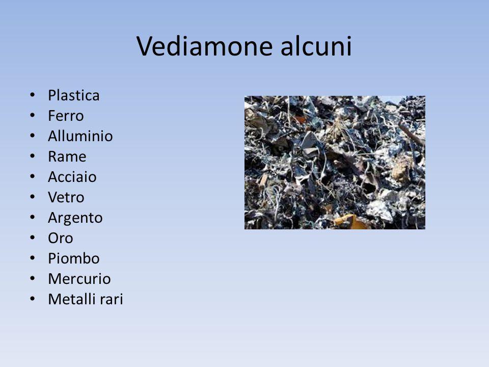 Vediamone alcuni Plastica Ferro Alluminio Rame Acciaio Vetro Argento Oro Piombo Mercurio Metalli rari