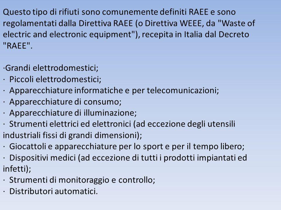 Questo tipo di rifiuti sono comunemente definiti RAEE e sono regolamentati dalla Direttiva RAEE (o Direttiva WEEE, da Waste of electric and electronic equipment ), recepita in Italia dal Decreto RAEE .