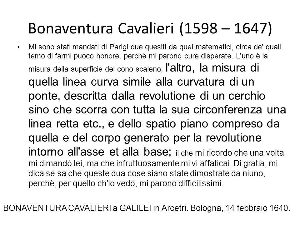 Bonaventura Cavalieri (1598 – 1647) Mi sono stati mandati di Parigi due quesiti da quei matematici, circa de' quali temo di farmi puoco honore, perchè