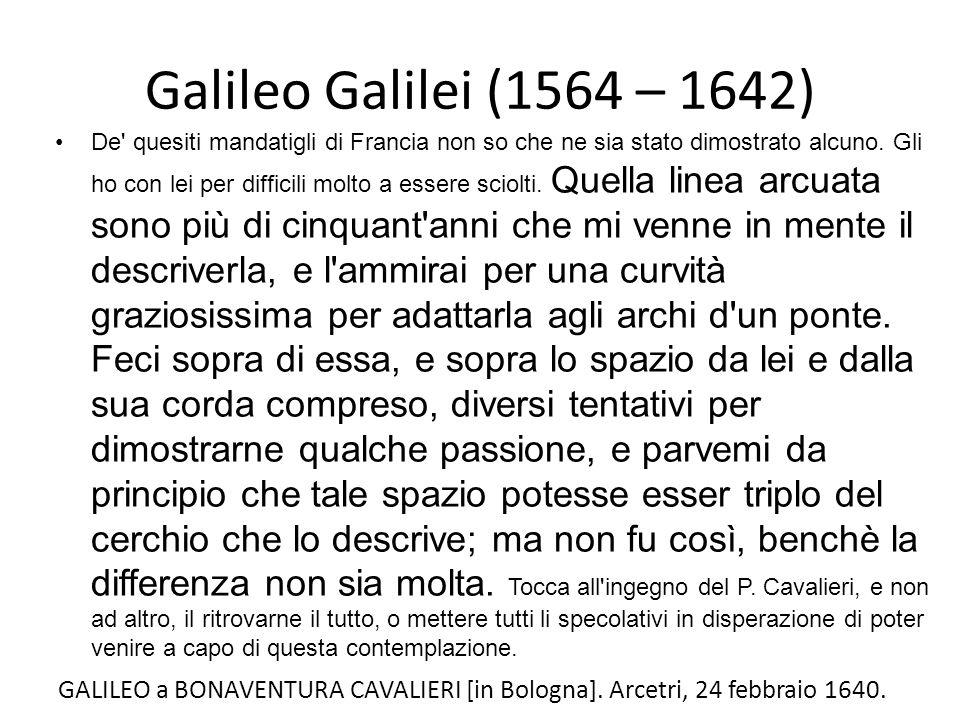 Galileo Galilei (1564 – 1642) De' quesiti mandatigli di Francia non so che ne sia stato dimostrato alcuno. Gli ho con lei per difficili molto a essere