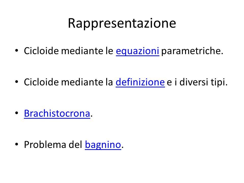 Rappresentazione Cicloide mediante le equazioni parametriche.equazioni Cicloide mediante la definizione e i diversi tipi.definizione Brachistocrona. B