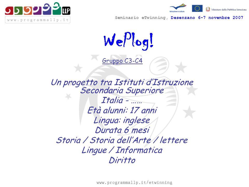 Seminario eTwinning, Desenzano 6-7 novembre 2007 Gruppo C3-C4 Un progetto tra Istituti d'Istruzione Secondaria Superiore Italia - …… Età alunni: 17 an