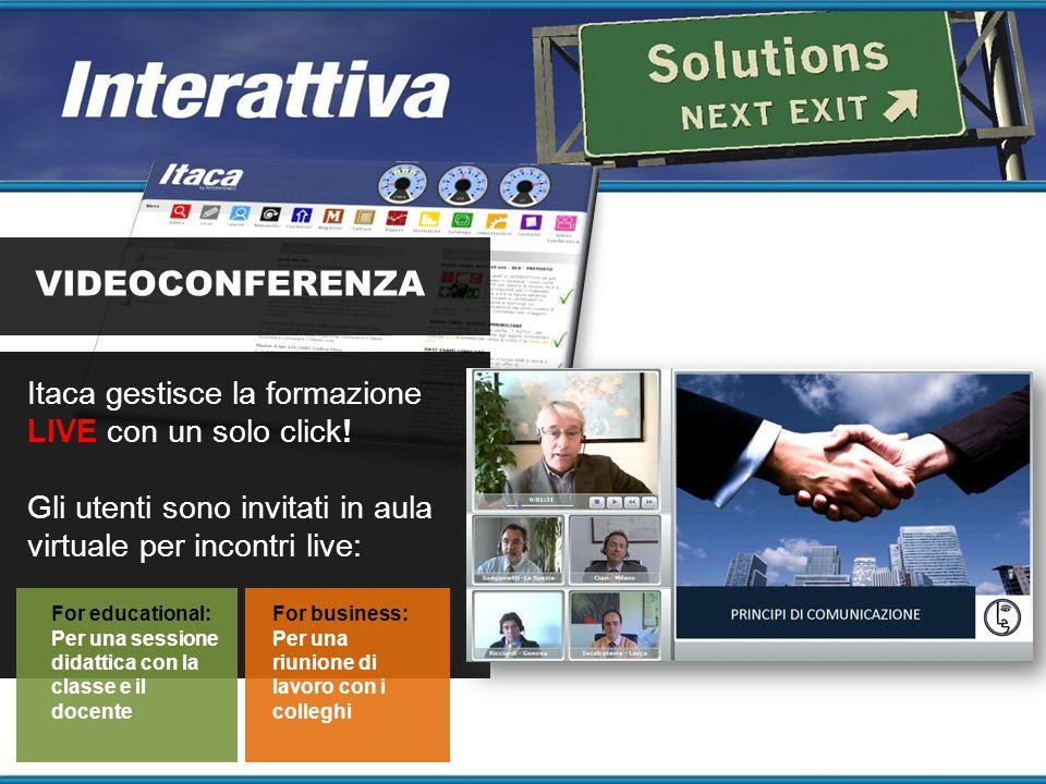 VIDEOCONFERENZA Itaca gestisce la formazione LIVE con un solo click! Gli utenti sono invitati in aula virtuale per incontri live: For educational: Per