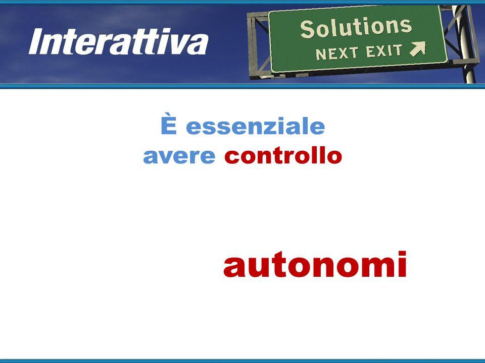 È essenziale avere controllo È importante essere autonomi