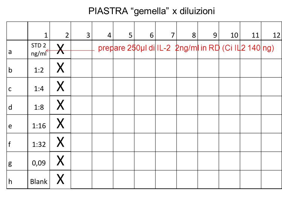 """PIASTRA """"gemella"""" x diluizioni prepare 250µl di IL-2 2ng/ml in RD (Ci IL2 140 ng)"""