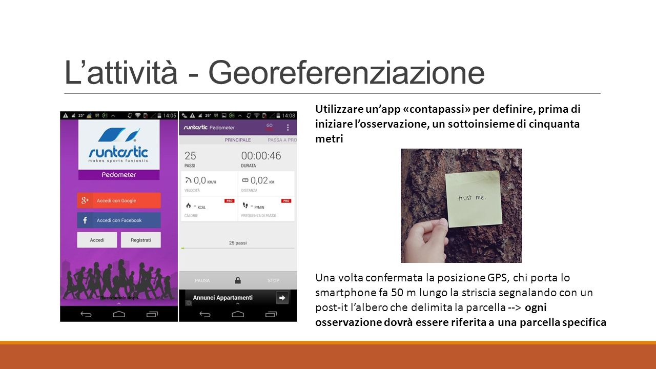L'attività - equipaggiamento  Smartphone Android/iOS con GPS, app My Maps, app contapassi  Materiale per segnalazione alberi d'intersezione (stracci, corde, fogli, lampade cinesi…)  Bindella (lunghezza min.