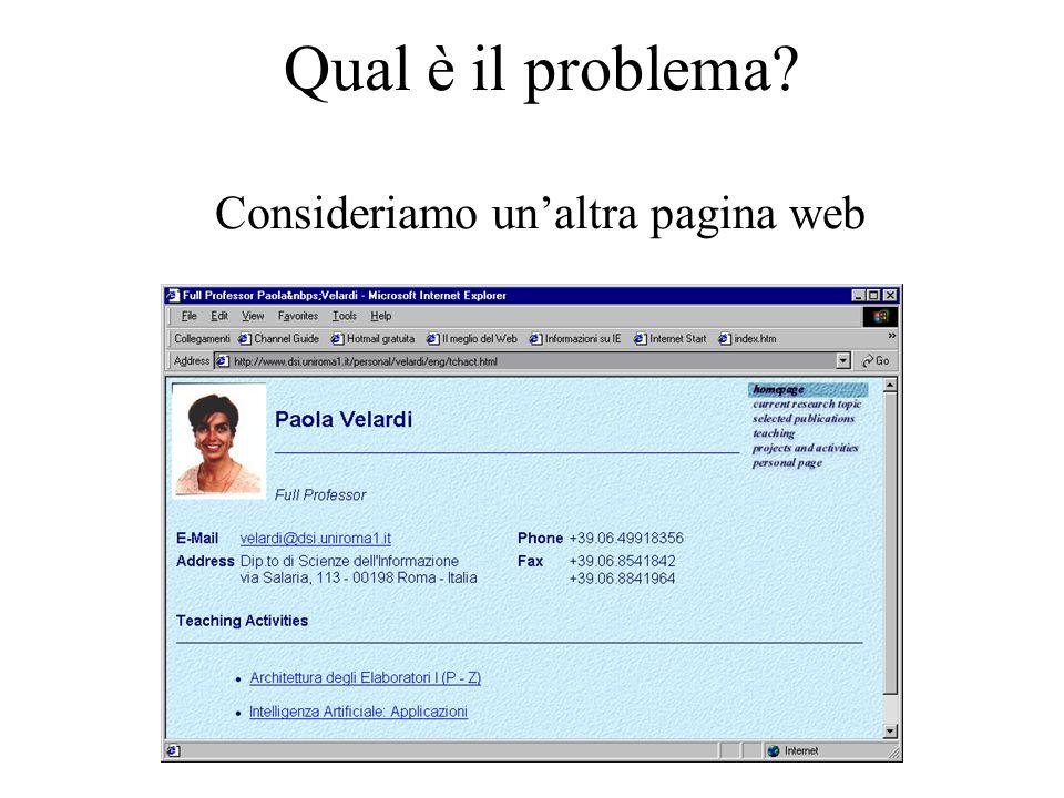 Qual è il problema Consideriamo un'altra pagina web