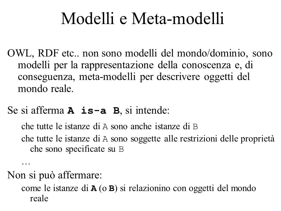 Modelli e Meta-modelli OWL, RDF etc..