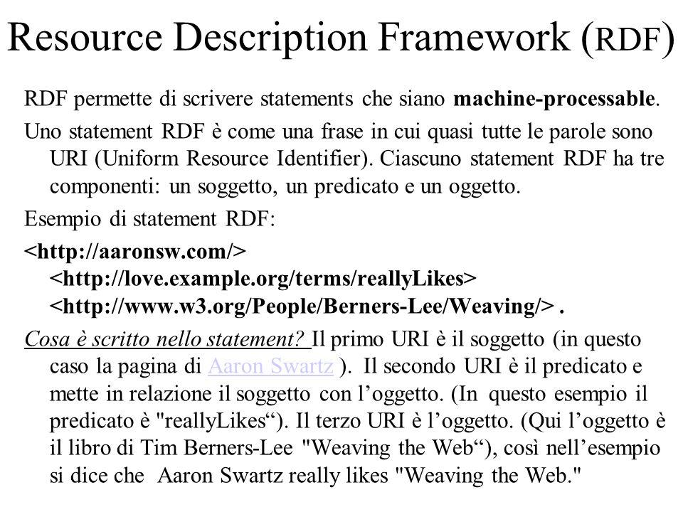 Resource Description Framework ( RDF ) RDF è un grafo.