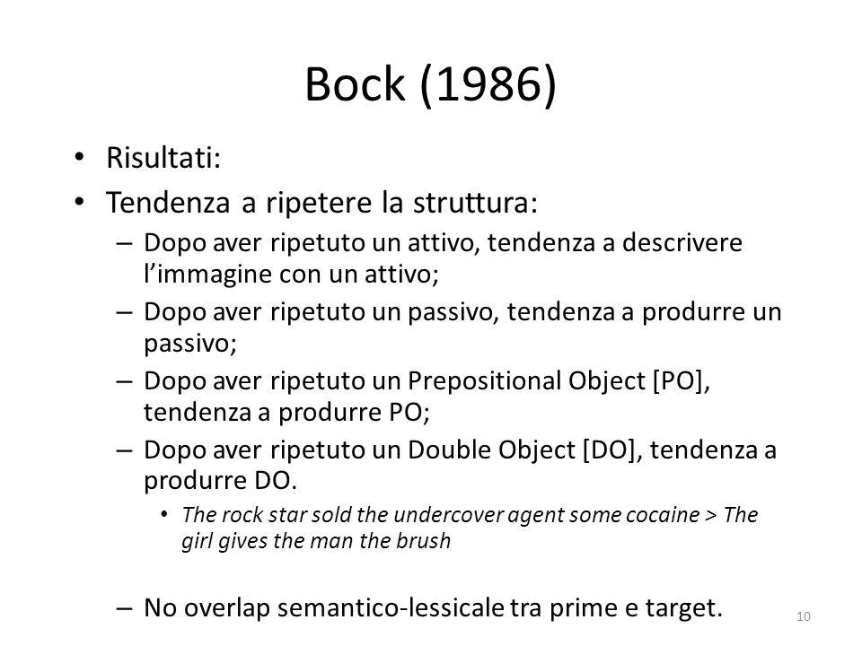 10 Bock (1986) Risultati: Tendenza a ripetere la struttura: – Dopo aver ripetuto un attivo, tendenza a descrivere l'immagine con un attivo; – Dopo aver ripetuto un passivo, tendenza a produrre un passivo; – Dopo aver ripetuto un Prepositional Object [PO], tendenza a produrre PO; – Dopo aver ripetuto un Double Object [DO], tendenza a produrre DO.