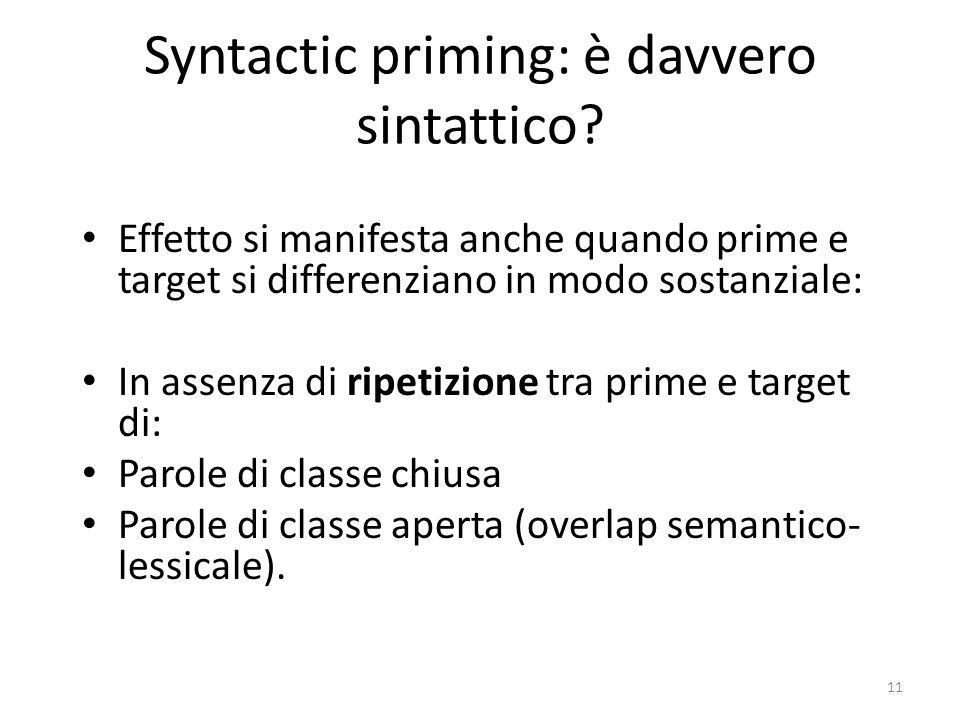 11 Syntactic priming: è davvero sintattico.