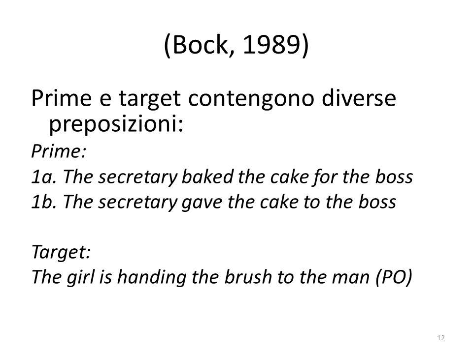 (Bock, 1989) Prime e target contengono diverse preposizioni: Prime: 1a.