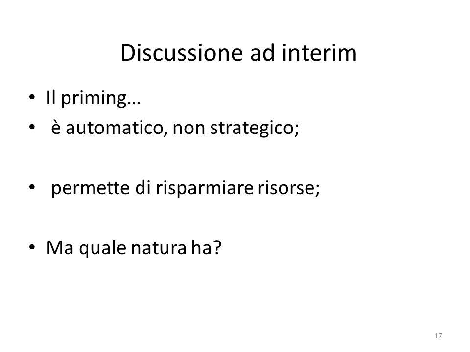Discussione ad interim Il priming… è automatico, non strategico; permette di risparmiare risorse; Ma quale natura ha.
