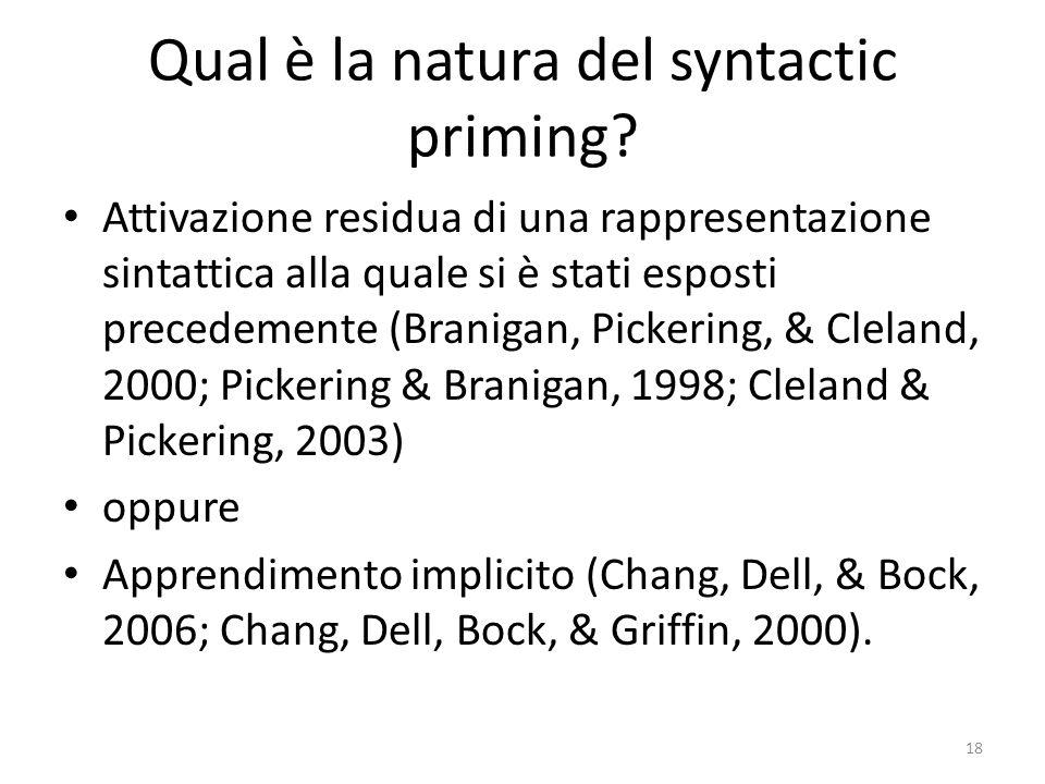 Qual è la natura del syntactic priming.
