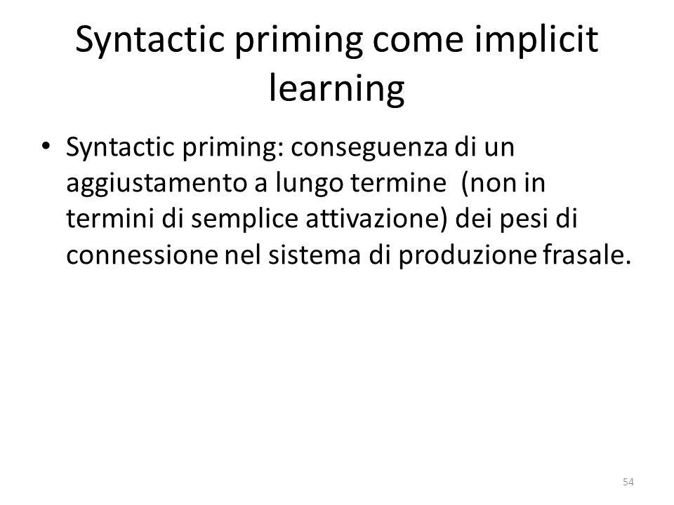 Syntactic priming come implicit learning Syntactic priming: conseguenza di un aggiustamento a lungo termine (non in termini di semplice attivazione) dei pesi di connessione nel sistema di produzione frasale.