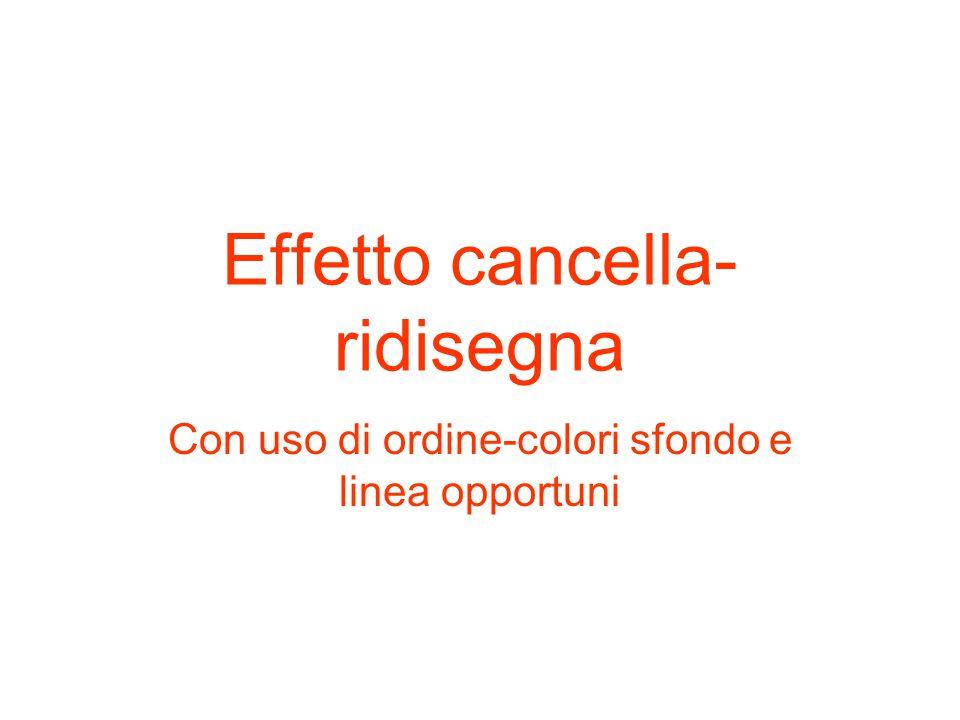 Effetto cancella- ridisegna Con uso di ordine-colori sfondo e linea opportuni