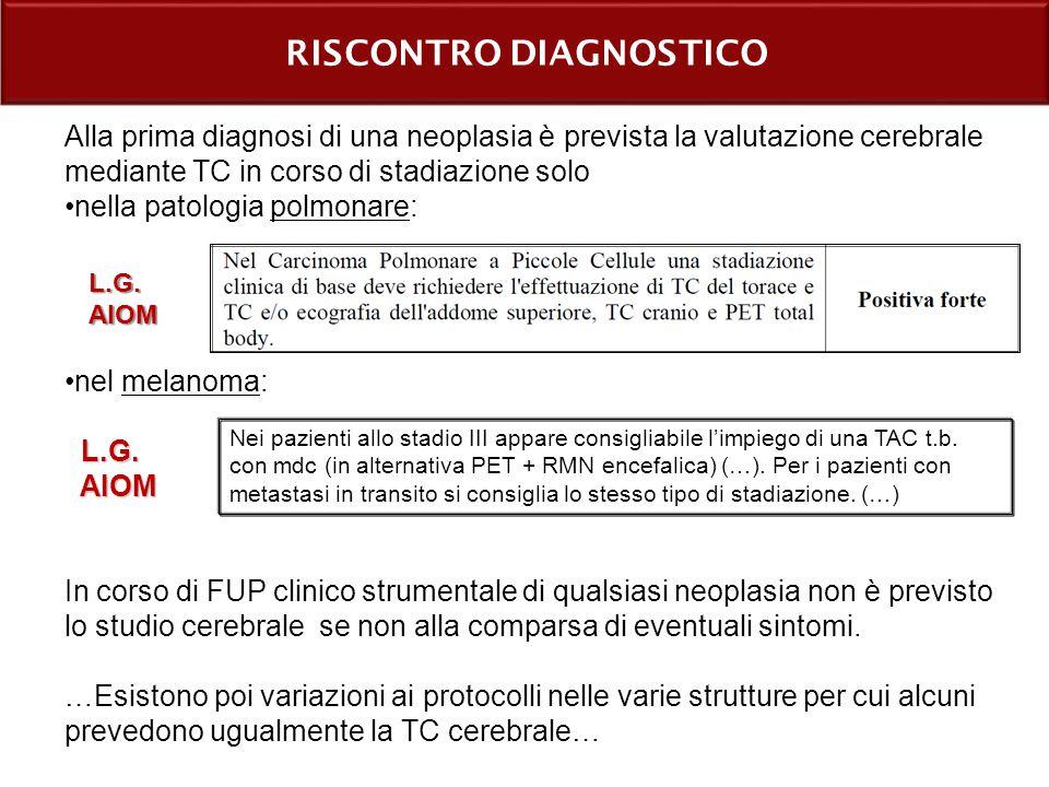 RISCONTRO DIAGNOSTICO Alla prima diagnosi di una neoplasia è prevista la valutazione cerebrale mediante TC in corso di stadiazione solo nella patologia polmonare: nel melanoma: L.G.
