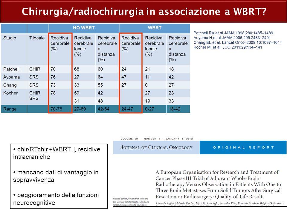 Chirurgia/radiochirurgia in associazione a WBRT? chir/RTchir +WBRT ↓ recidive intracraniche mancano dati di vantaggio in sopravvivenza peggioramento d