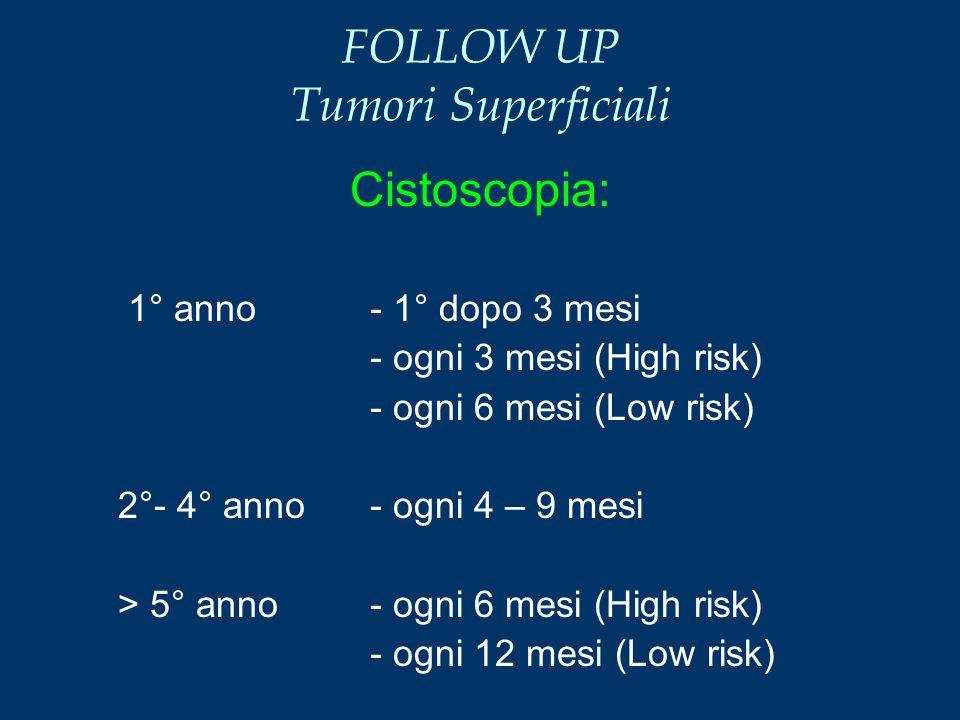 FOLLOW UP Tumori Superficiali Cistoscopia: 1° anno - 1° dopo 3 mesi - ogni 3 mesi (High risk) - ogni 6 mesi (Low risk) 2°- 4° anno- ogni 4 – 9 mesi >