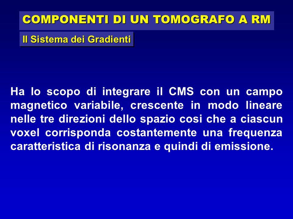 COMPONENTI DI UN TOMOGRAFO A RM Ha lo scopo di integrare il CMS con un campo magnetico variabile, crescente in modo lineare nelle tre direzioni dello