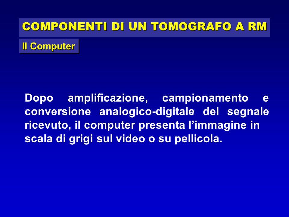 COMPONENTI DI UN TOMOGRAFO A RM Il Computer Dopo amplificazione, campionamento e conversione analogico-digitale del segnale ricevuto, il computer pres