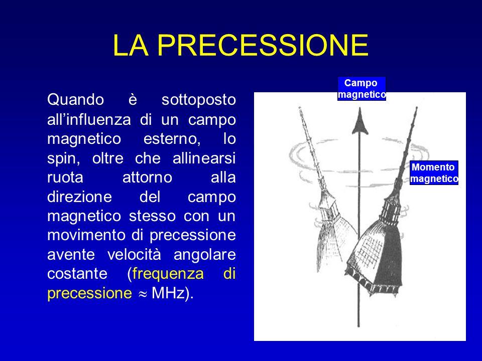 LA PRECESSIONE Quando è sottoposto all'influenza di un campo magnetico esterno, lo spin, oltre che allinearsi ruota attorno alla direzione del campo m
