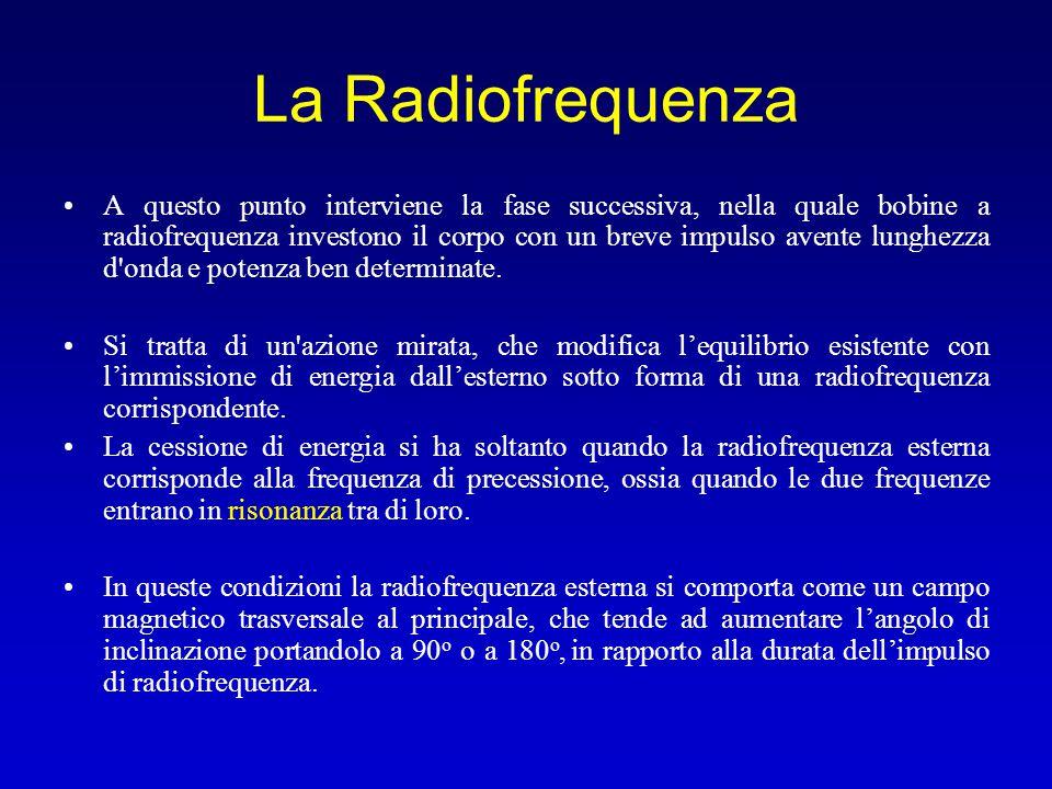 La Radiofrequenza A questo punto interviene la fase successiva, nella quale bobine a radiofrequenza investono il corpo con un breve impulso avente lun