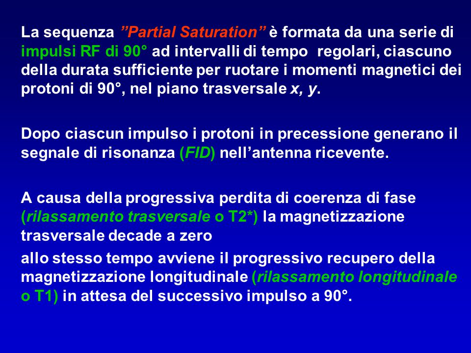 """La sequenza """"Partial Saturation"""" è formata da una serie di impulsi RF di 90° ad intervalli di tempo regolari, ciascuno della durata sufficiente per ru"""