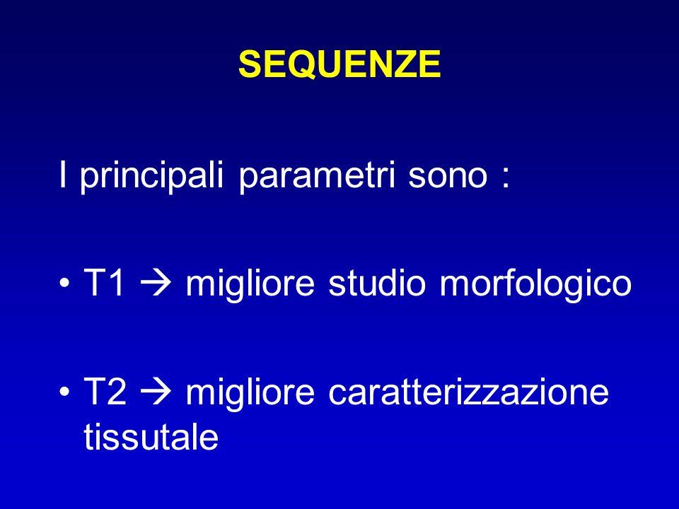 SEQUENZE I principali parametri sono : T1  migliore studio morfologico T2  migliore caratterizzazione tissutale