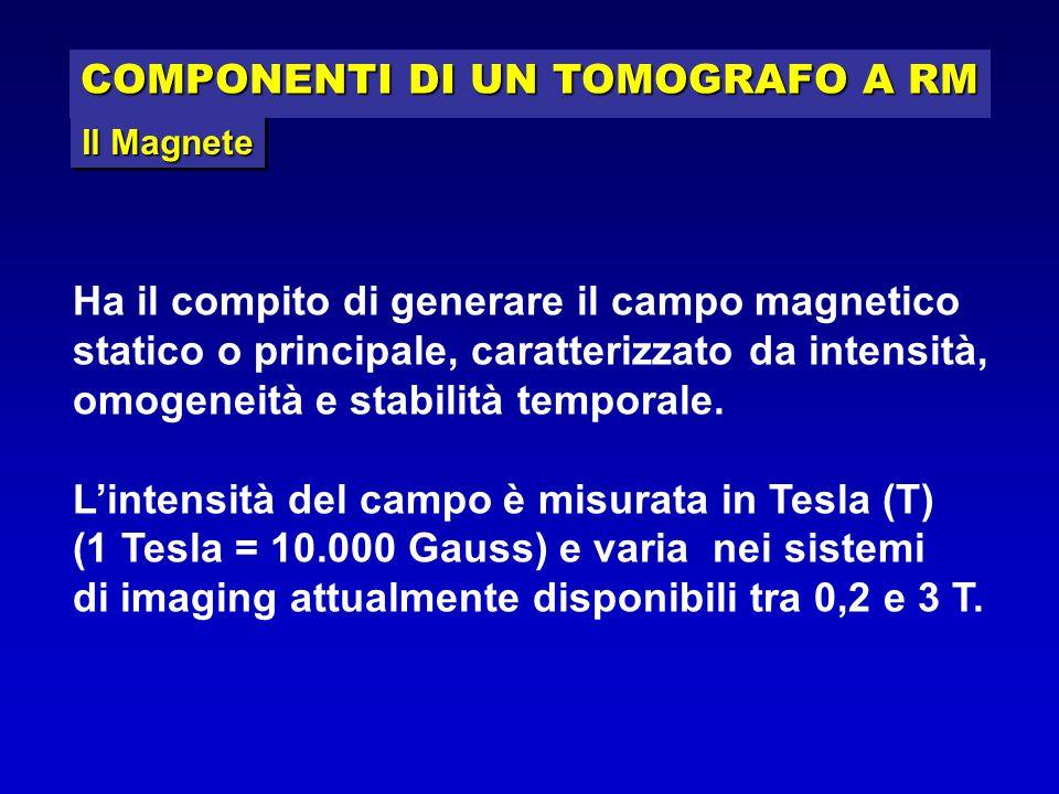 COMPONENTI DI UN TOMOGRAFO A RM Ha il compito di generare il campo magnetico statico o principale, caratterizzato da intensità, omogeneità e stabilità