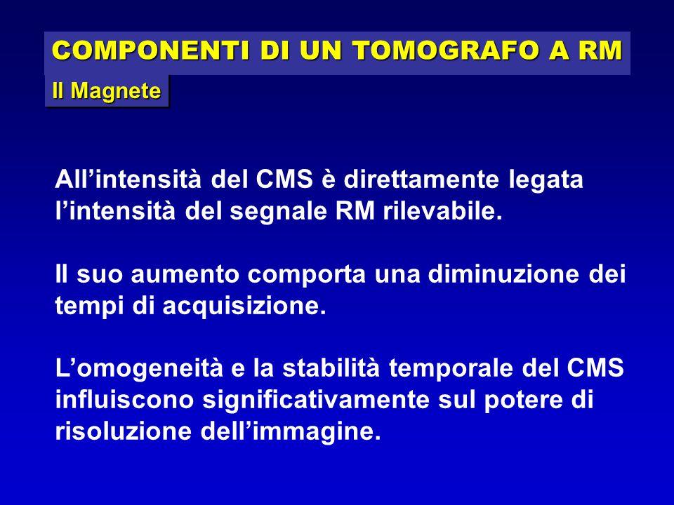 COMPONENTI DI UN TOMOGRAFO A RM Il Magnete All'intensità del CMS è direttamente legata l'intensità del segnale RM rilevabile. Il suo aumento comporta