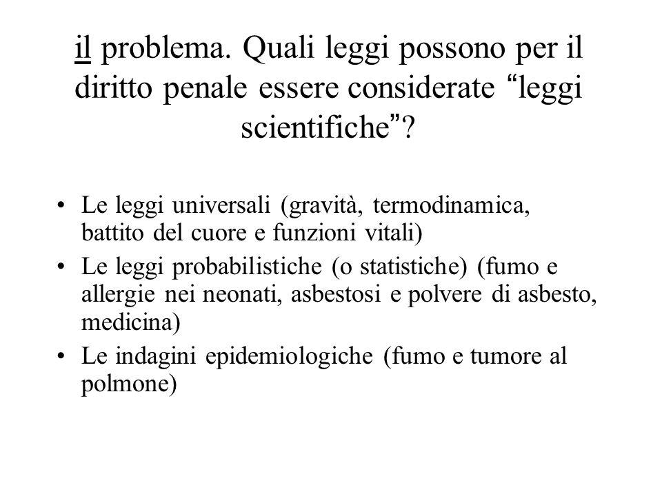"""il problema. Quali leggi possono per il diritto penale essere considerate """"leggi scientifiche""""? Le leggi universali (gravità, termodinamica, battito d"""
