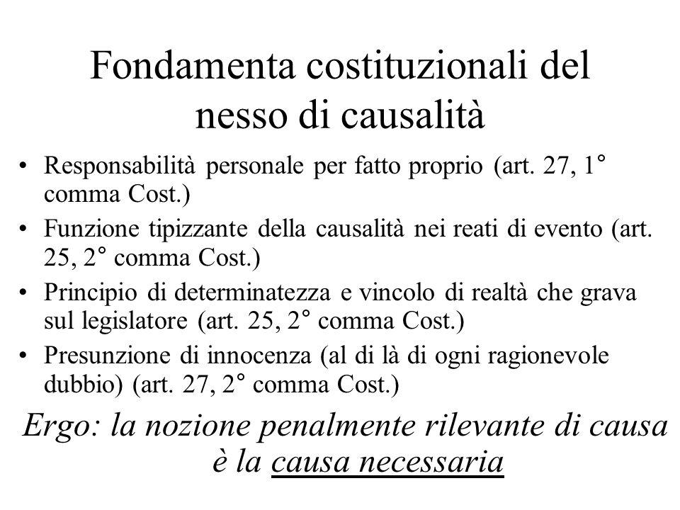 Fondamenta costituzionali del nesso di causalità Responsabilità personale per fatto proprio (art. 27, 1° comma Cost.) Funzione tipizzante della causal