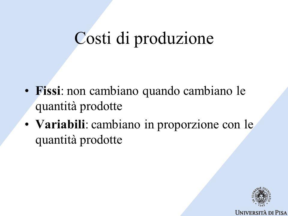 Costi di produzione Fissi: non cambiano quando cambiano le quantità prodotte Variabili: cambiano in proporzione con le quantità prodotte