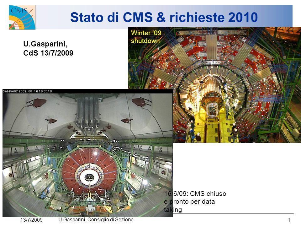 13/7/2009 U.Gasparini, Consiglio di Sezione 1 Stato di CMS & richieste 2010 U.Gasparini, CdS 13/7/2009 Winter '09 shutdown 16/6/09: CMS chiuso e pronto per data taking