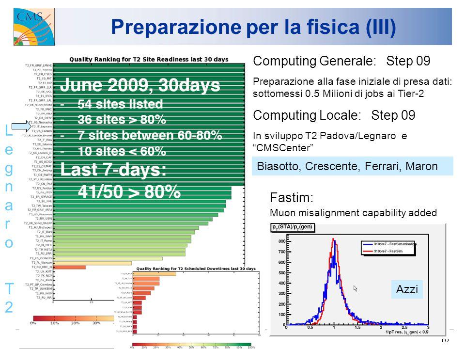 13/7/2009 U.Gasparini, Consiglio di Sezione 10 Preparazione per la fisica (III) Computing Generale: Step 09 Preparazione alla fase iniziale di presa d