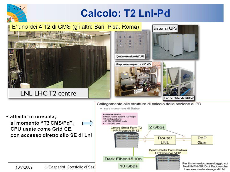 13/7/2009 U.Gasparini, Consiglio di Sezione 11 Calcolo: T2 Lnl-Pd E' uno dei 4 T2 di CMS (gli altri: Bari, Pisa, Roma) - attivita' in crescita; al momento T3 CMS/Pd , CPU usate come Grid CE, con accesso diretto allo SE di Lnl