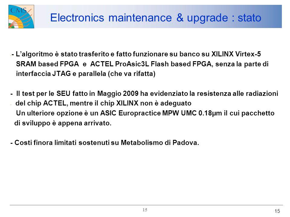 15 - - L'algoritmo è stato trasferito e fatto funzionare su banco su XILINX Virtex-5 SRAM based FPGA e ACTEL ProAsic3L Flash based FPGA, senza la parte di interfaccia JTAG e parallela (che va rifatta) - Il test per le SEU fatto in Maggio 2009 ha evidenziato la resistenza alle radiazioni - del chip ACTEL, mentre il chip XILINX non è adeguato Un ulteriore opzione è un ASIC Europractice MPW UMC 0.18µm il cui pacchetto di sviluppo è appena arrivato.