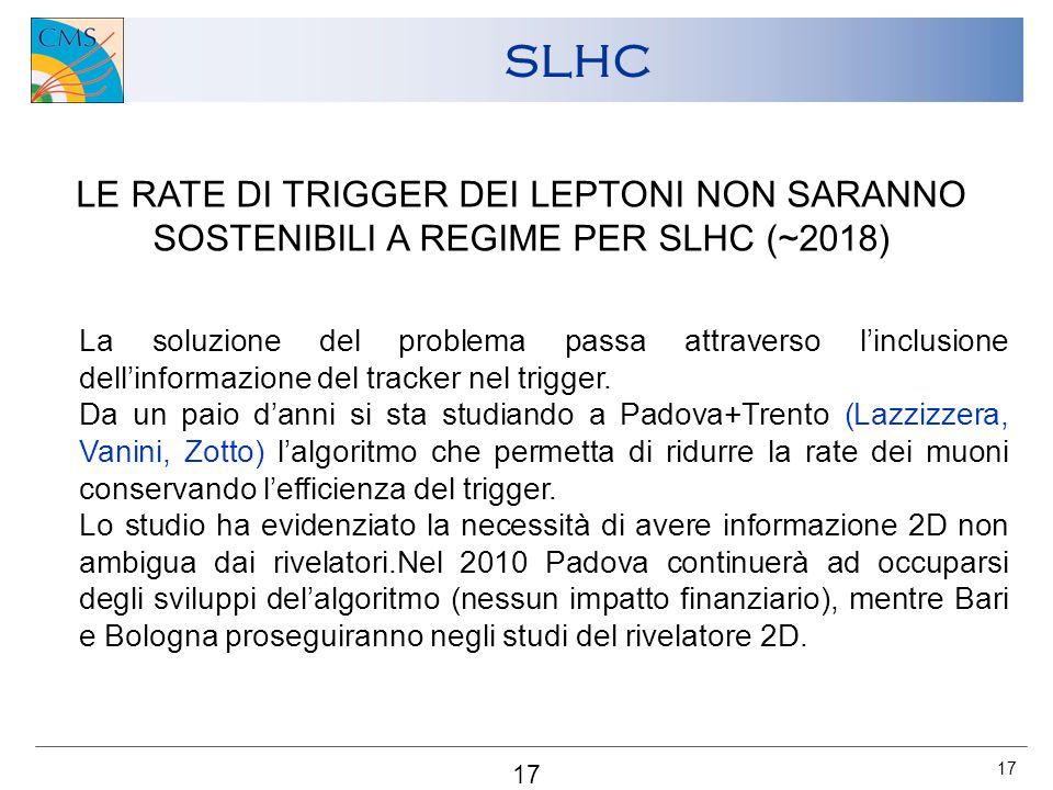 17 SLHC LE RATE DI TRIGGER DEI LEPTONI NON SARANNO SOSTENIBILI A REGIME PER SLHC (~2018) La soluzione del problema passa attraverso l'inclusione dell'informazione del tracker nel trigger.