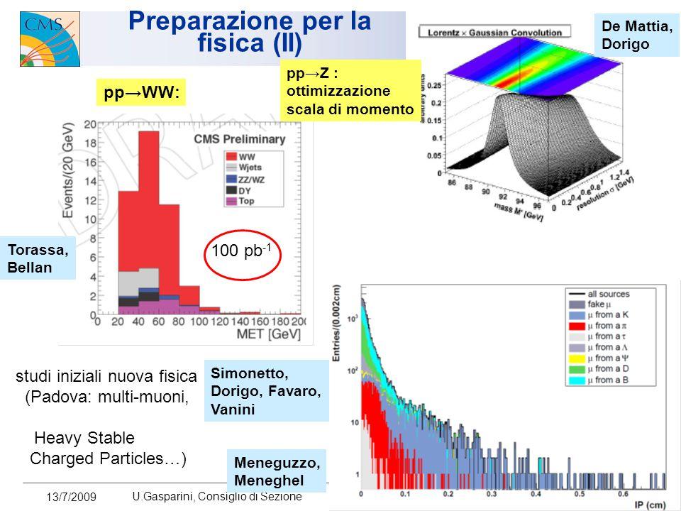 13/7/2009 U.Gasparini, Consiglio di Sezione 9 Preparazione per la fisica (II) pp → WW: 100 pb -1 Torassa, Bellan pp → Z : ottimizzazione scala di mome